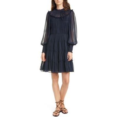 Ulla Johnson Emmeline Shirred Long Sleeve Silk Dress, Blue
