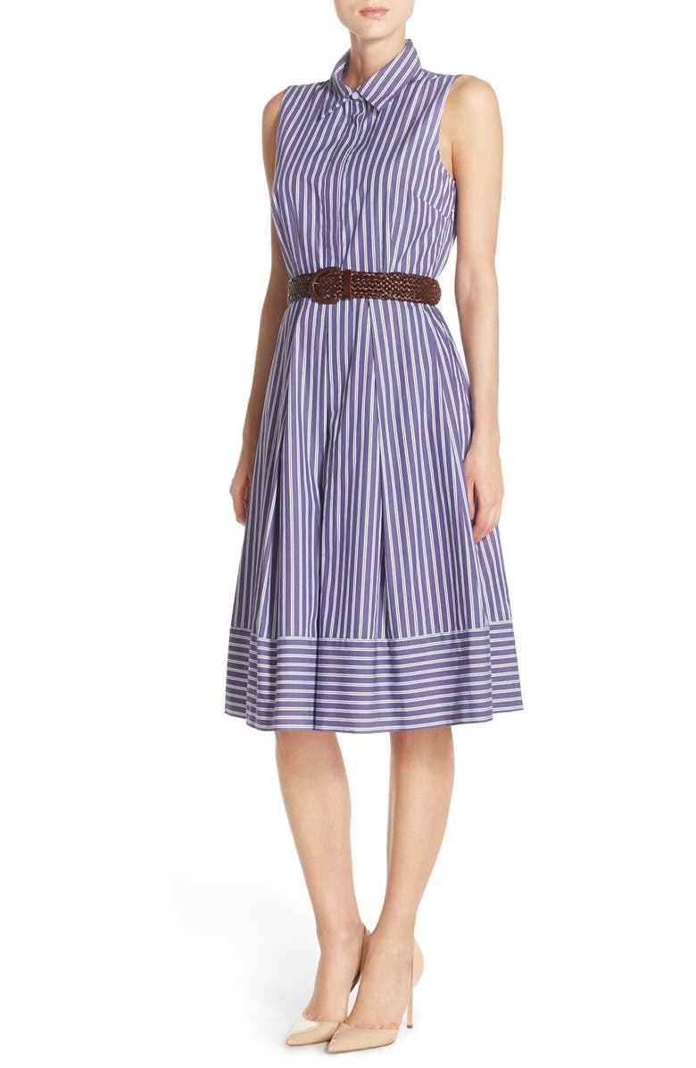 ELIZA J Belted Pinstripe Cotton Shirtdress, Main, color, 407