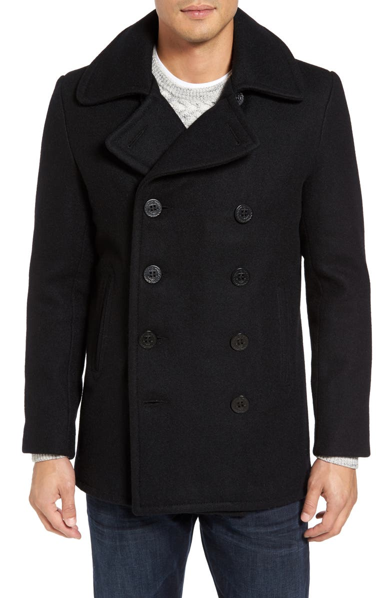 SCHOTT NYC Slim Fit Wool Blend Peacoat, Main, color, MIDNIGHT BLUE
