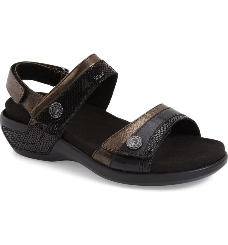ARAVON 'Katherine' Sandal, Main, color, BLACK LEATHER