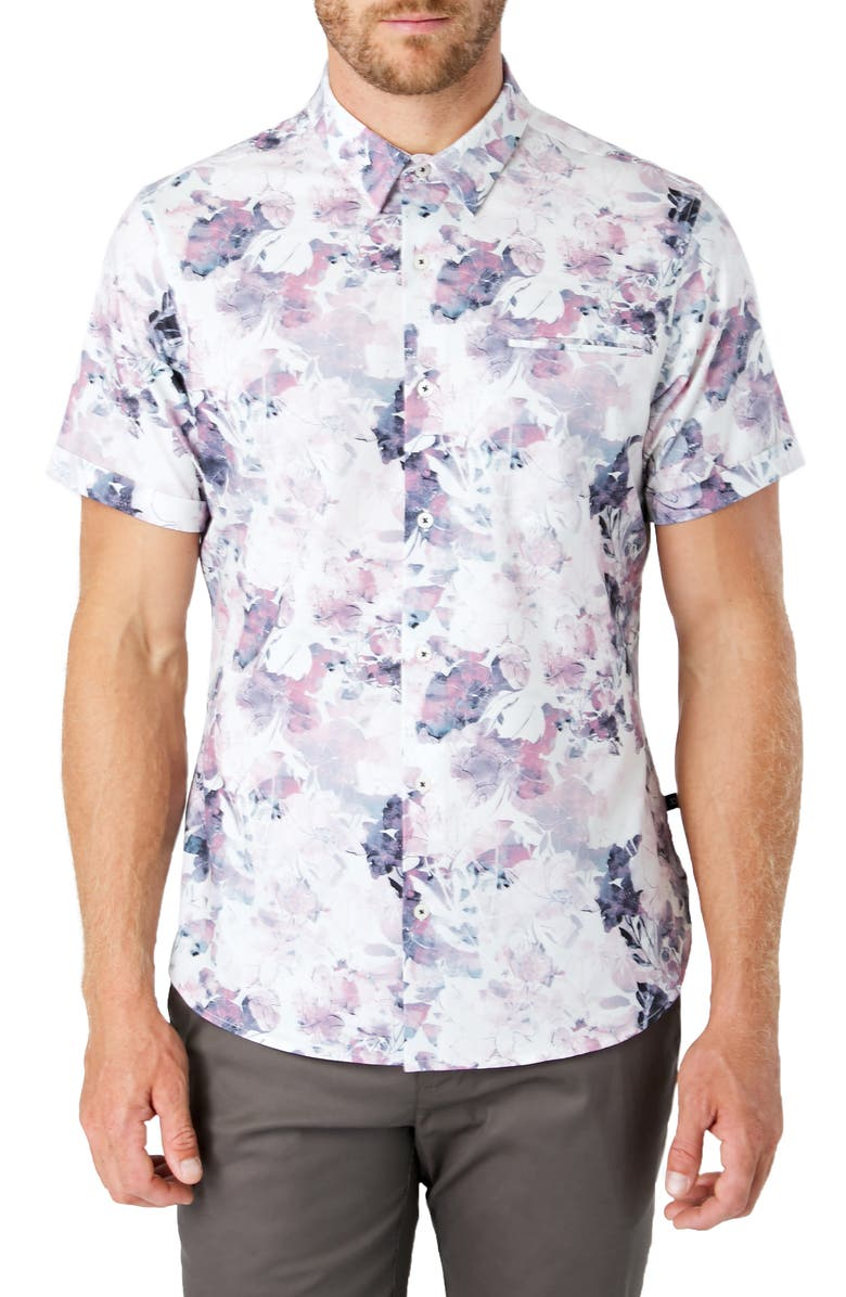 7 DIAMONDS Dreamland Slim Fit Floral Short Sleeve Button-Up Shirt, Main, color, BLUSH/ GREY