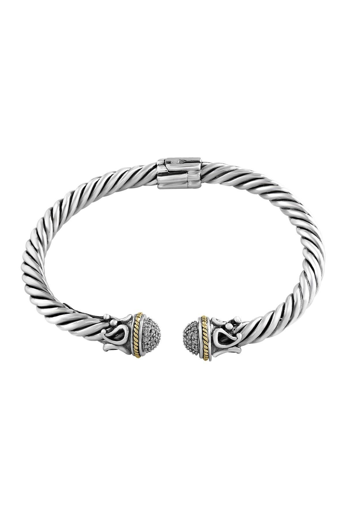 Image of Effy Sterling Silver & 18K Yellow Gold Pave Diamond Cuff Bracelet - 0.26 ctw