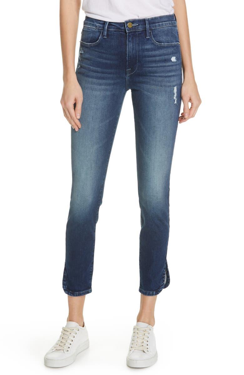FRAME Le High Slit Curve Hem Skinny Jeans, Main, color, 401