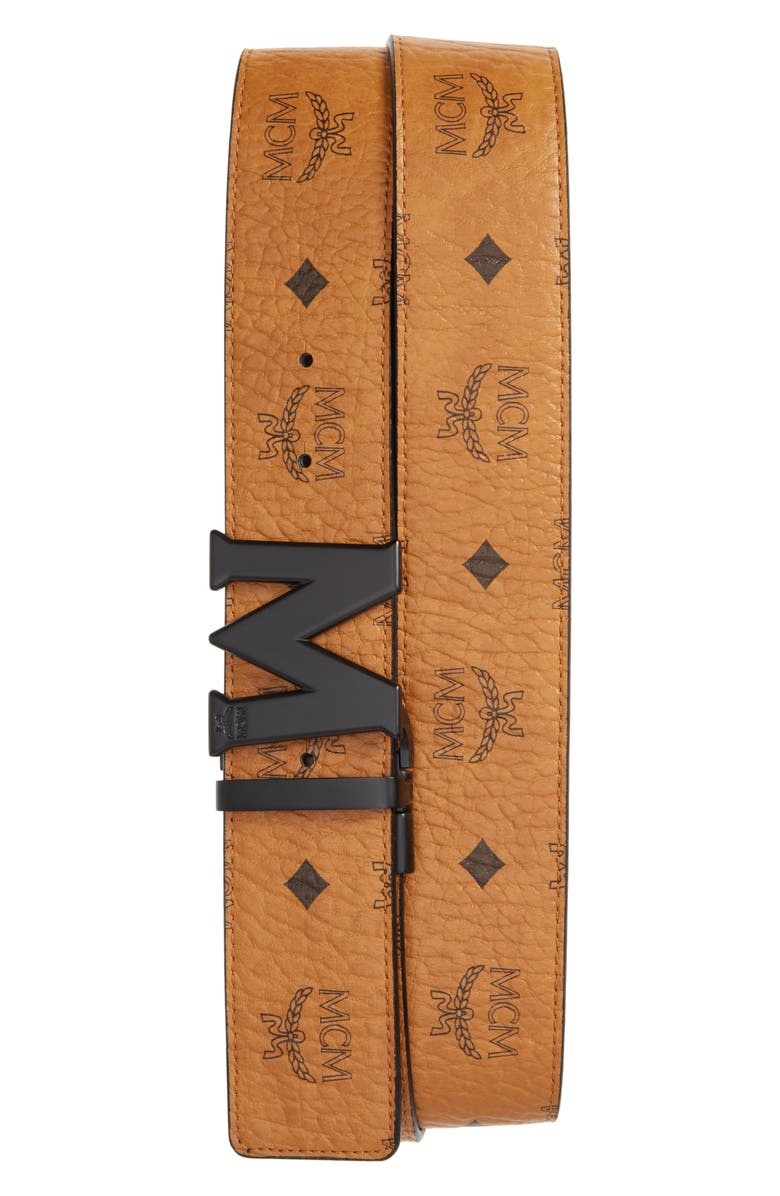 MCM Reversible Signature Leather Belt, Main, color, COGNAC