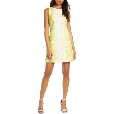 Petite Eliza J Sleeveless Lace Trim Floral Shift Dress, Yellow