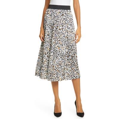 Helene Berman Cheetah Print Pleated Skirt, Grey