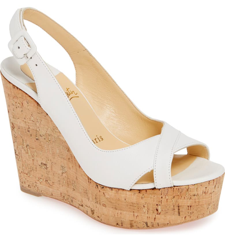 CHRISTIAN LOUBOUTIN Reine de Liege Platform Wedge Sandal, Main, color, WHITE