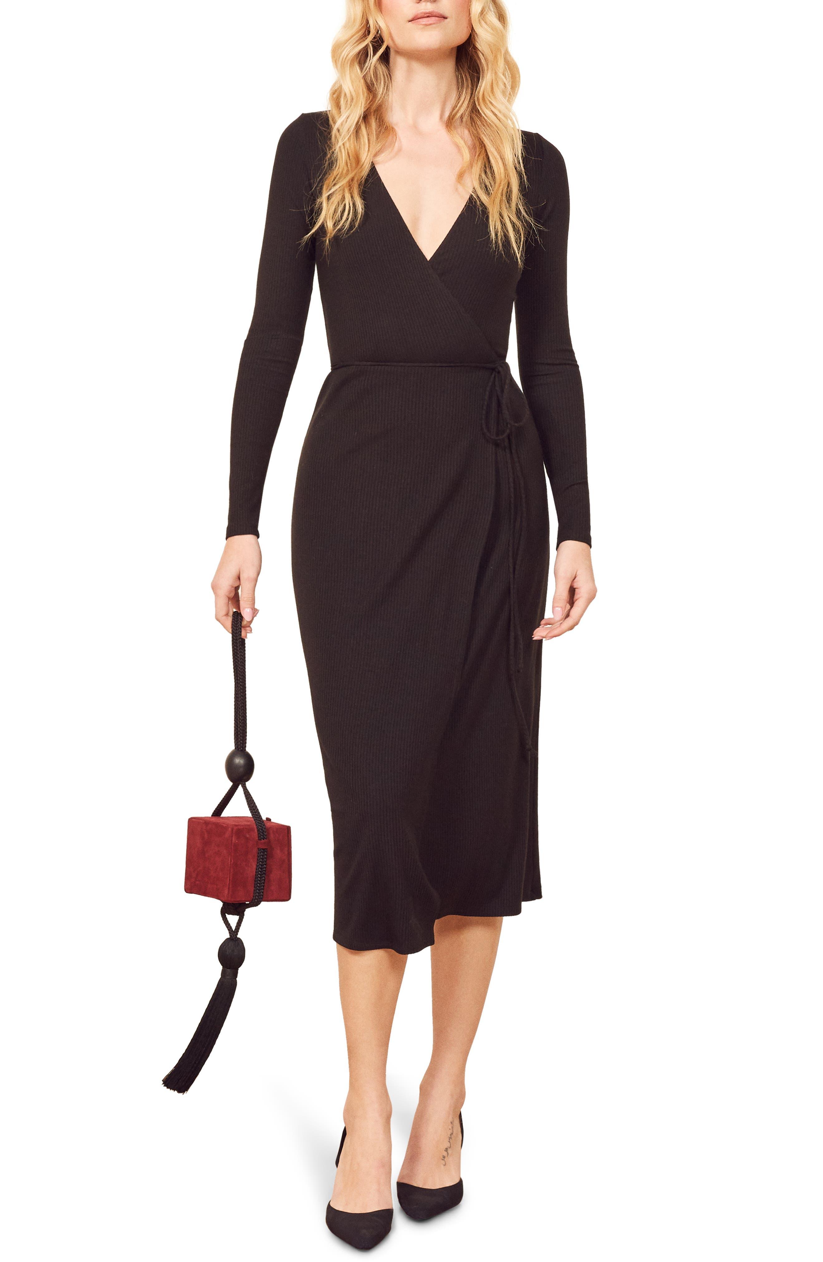 Reformation Celine Wrap Sweater Dress, Black