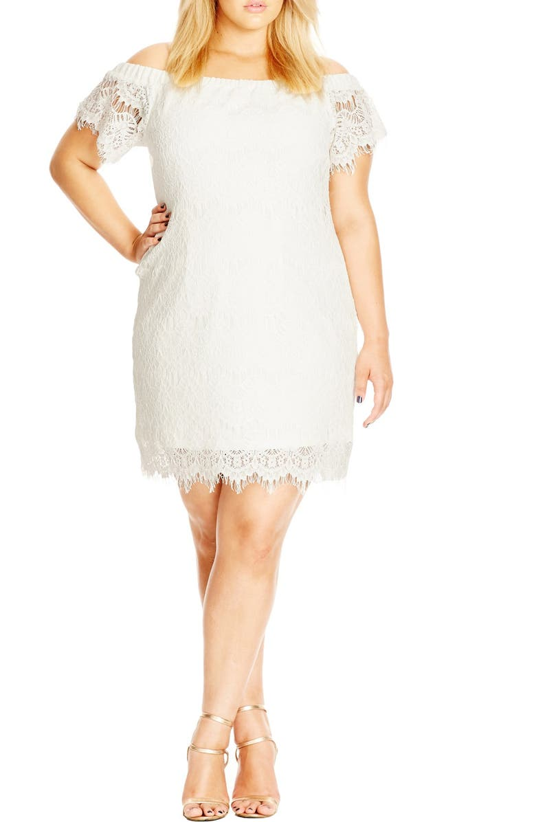 CITY CHIC Off the Shoulder Lace Dress, Main, color, IVORY