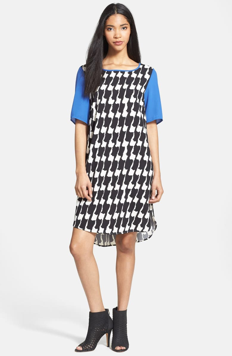 BOBEAU Contrast Trim Crepe T-Shirtdress, Main, color, 007