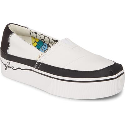 Toms Alpargata Boardwalk Platform Slip-On- White