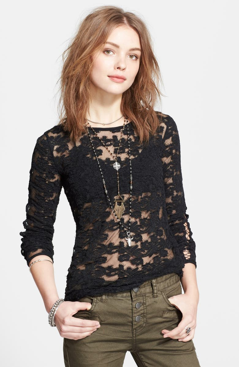 FREE PEOPLE Floral Textured Sheer Pullover, Main, color, 001