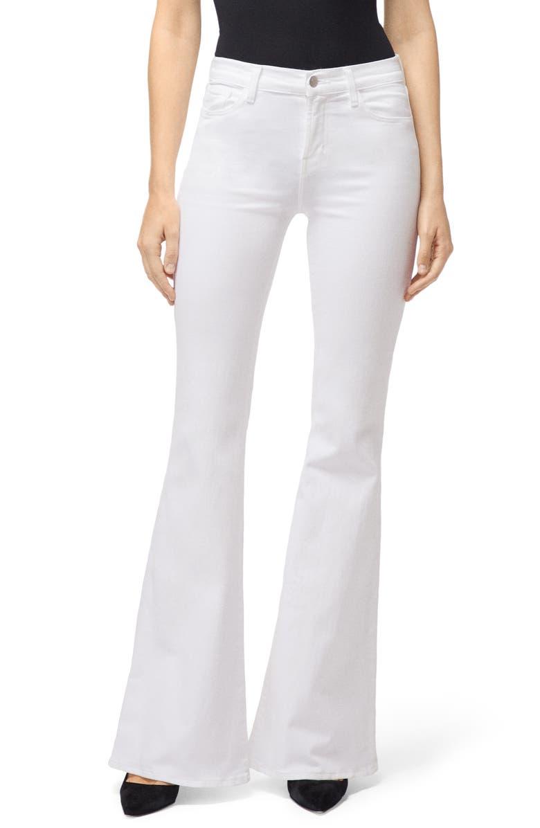 J BRAND Valentina High Waist Flare Leg Jeans, Main, color, BLANC