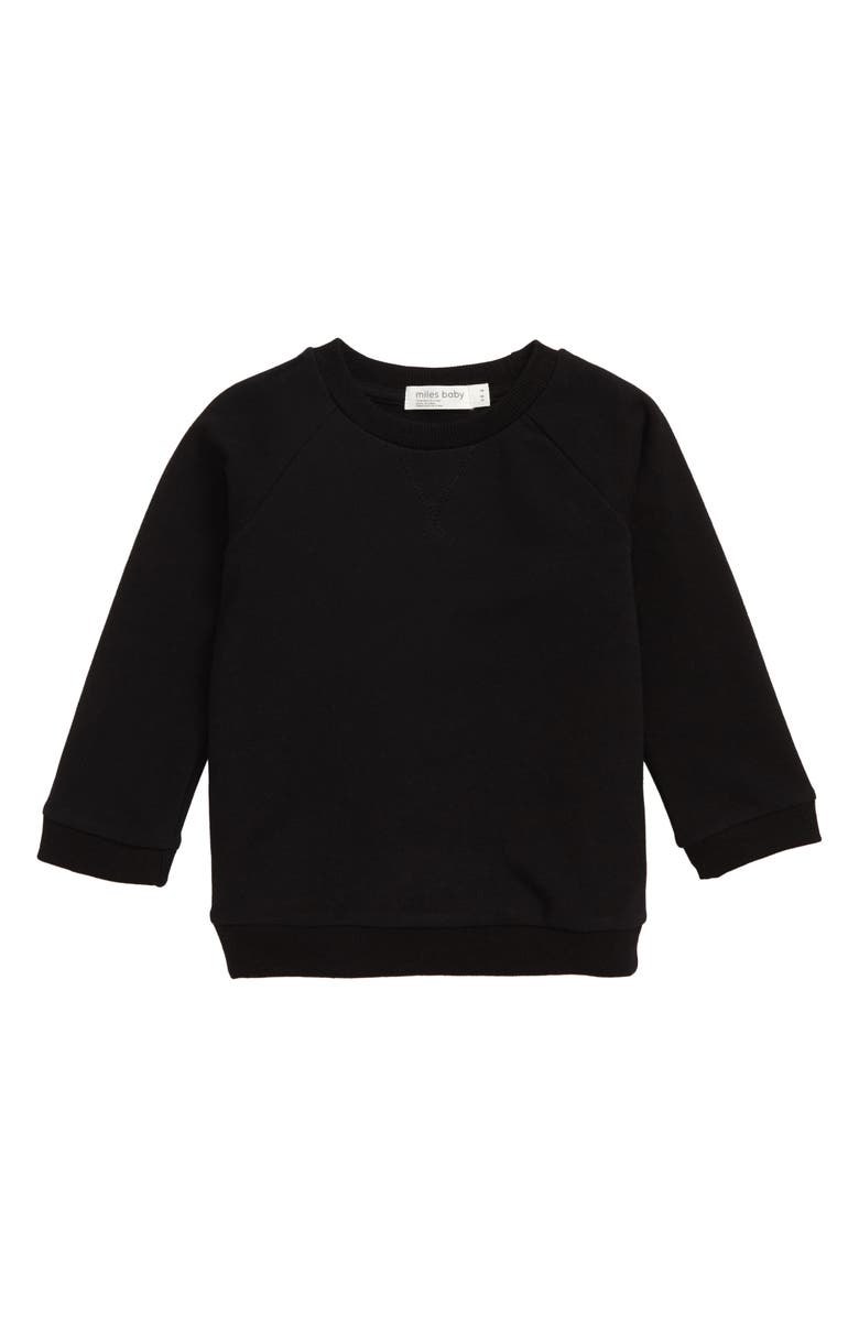 MILES baby Stretch Organic Cotton Sweatshirt, Main, color, BLACK