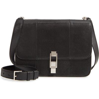 Saint Laurent Carre Genuine Snakeskin Shoulder Bag - Black
