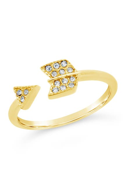 Image of Sterling Forever 14K Gold Vermeil Plated Sterling Silver CZ Open Arrow Ring