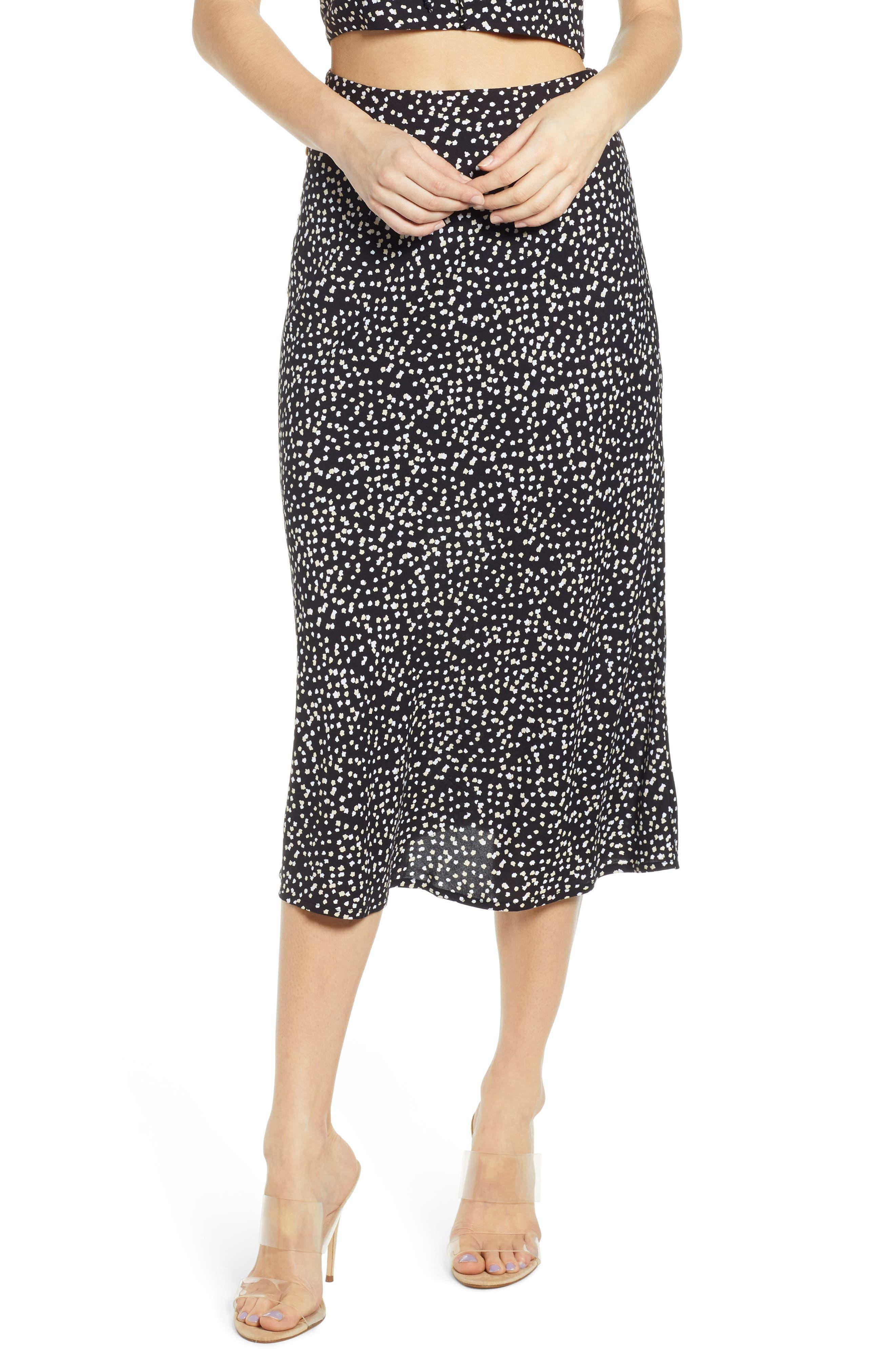 Leith Button Side Midi Skirt, Black