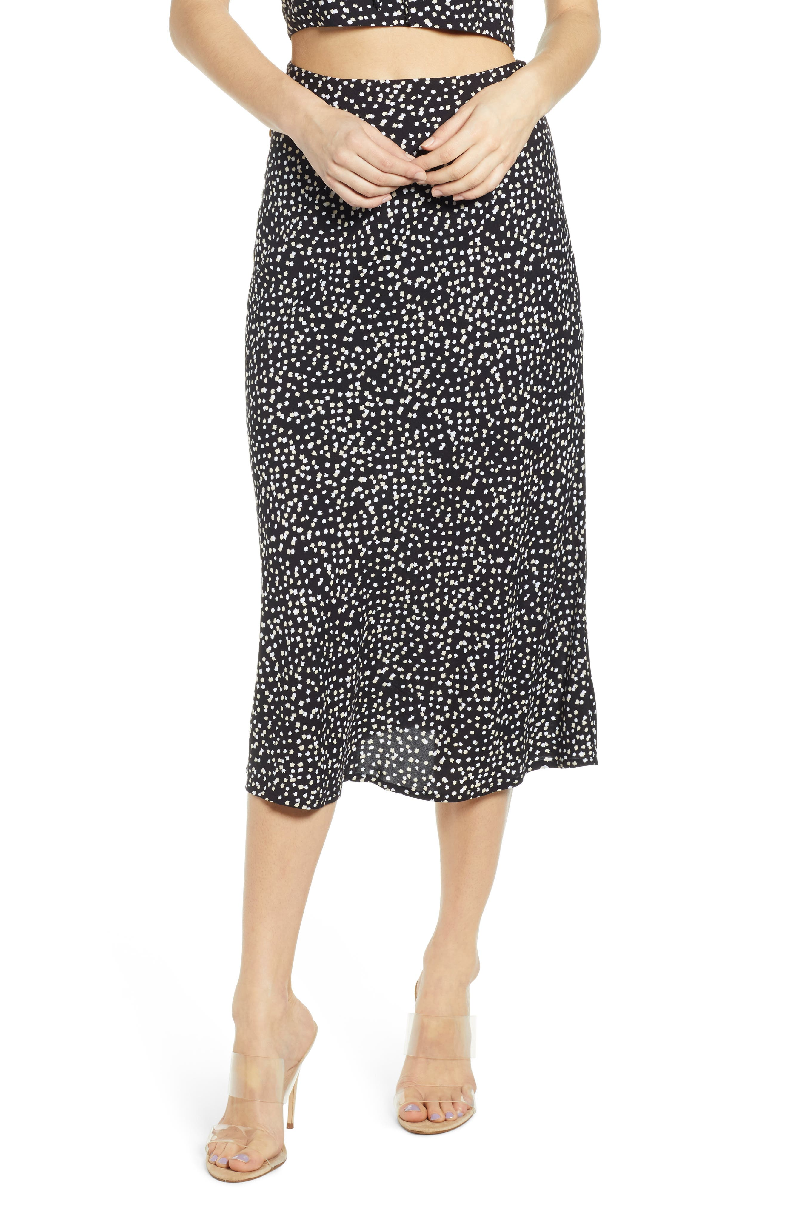 ,                             Button Side Midi Skirt,                             Main thumbnail 1, color,                             BLACK CINDY PRINT