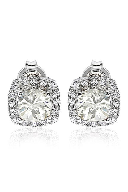 Image of Suzy Levian Sterling Silver Prong Set CZ & Pave Halo Stud Earrings