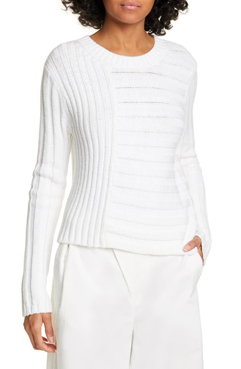 VINCE Mixed Rib Crewneck Sweater, Main, color, OPTIC WHITE