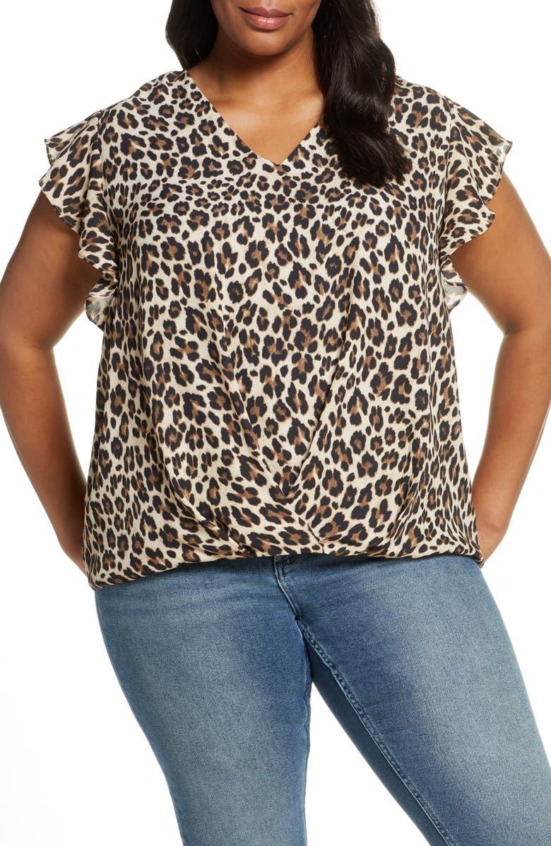 VINCE CAMUTO Leopard Print Flutter Sleeve Wrap Front Top, Main, color, RICH BLACK