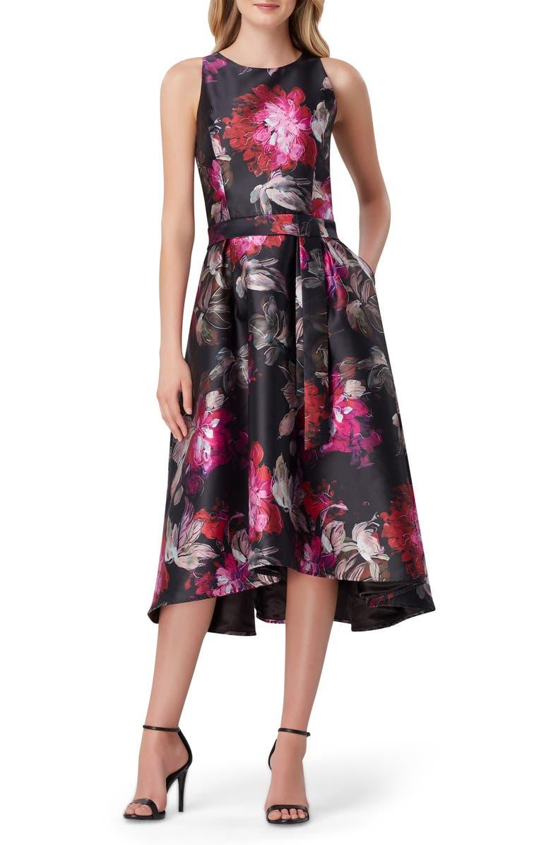 TAHARI Mikado Floral Fit & Flare Midi Dress, Main, color, 001