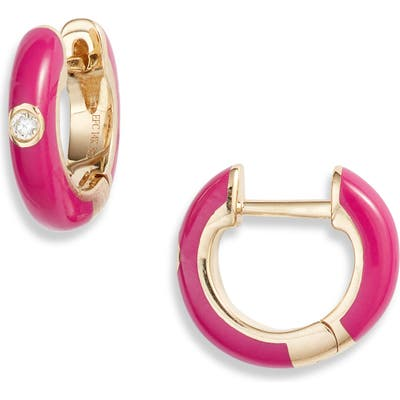 Ef Collection Enamel Diamond Huggie Earrings
