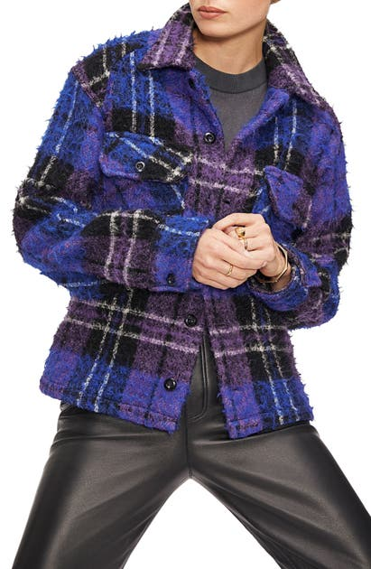 Anine Bing Jackets SAMONE PLAID WOOL & MOHAIR BLEND JACKET