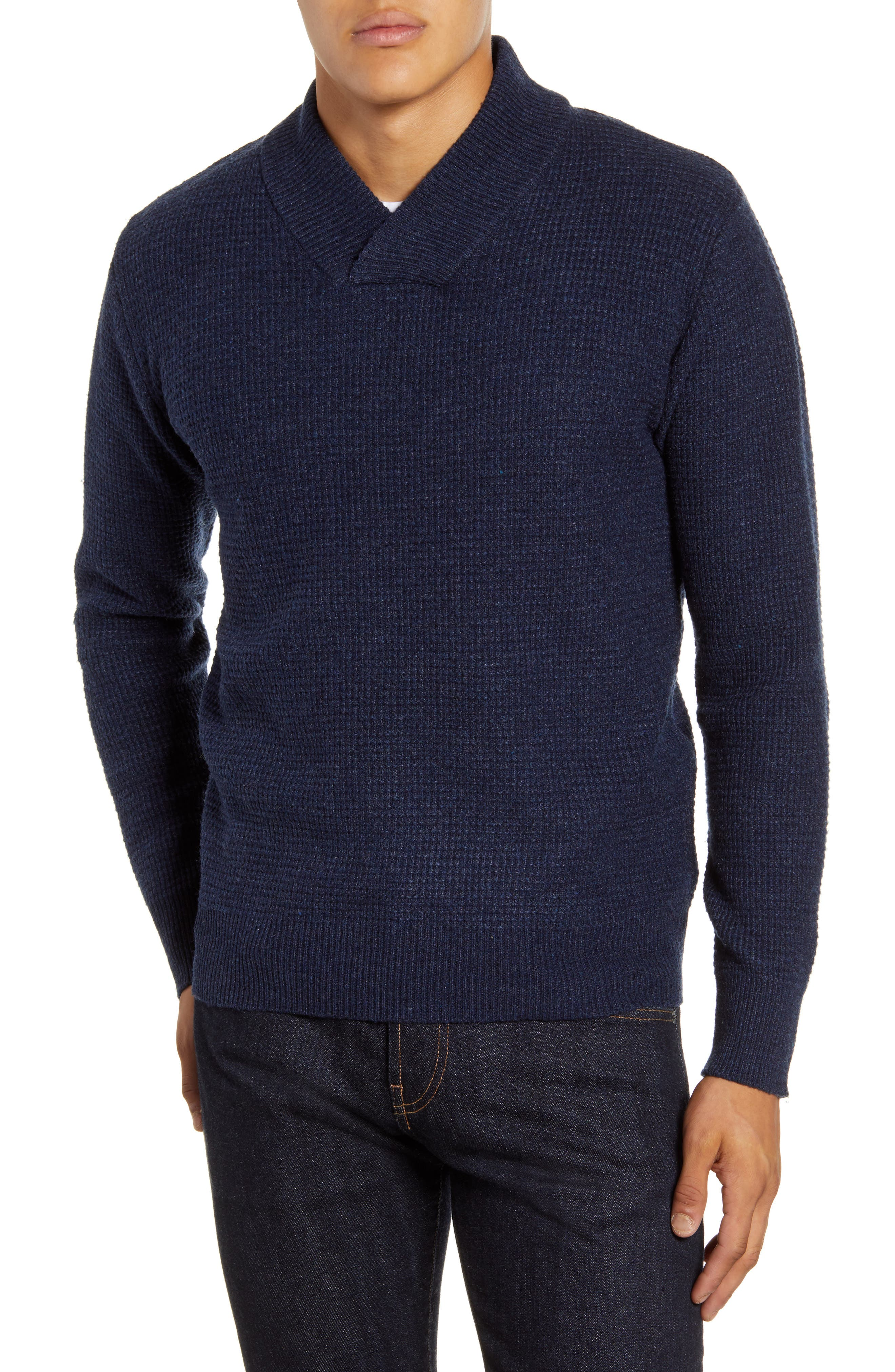 Men's Vintage Sweaters History Mens Schott Nyc Waffle Knit Thermal Wool Blend Pullover Size Medium - Blue $80.00 AT vintagedancer.com