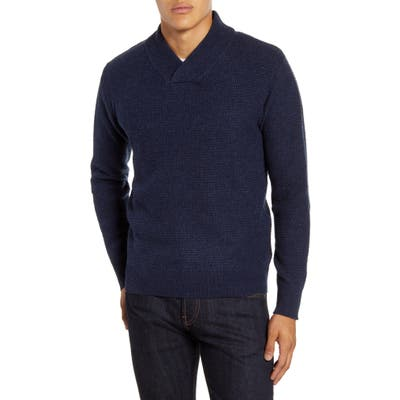 Schott Nyc Waffle Knit Thermal Wool Blend Pullover, Blue