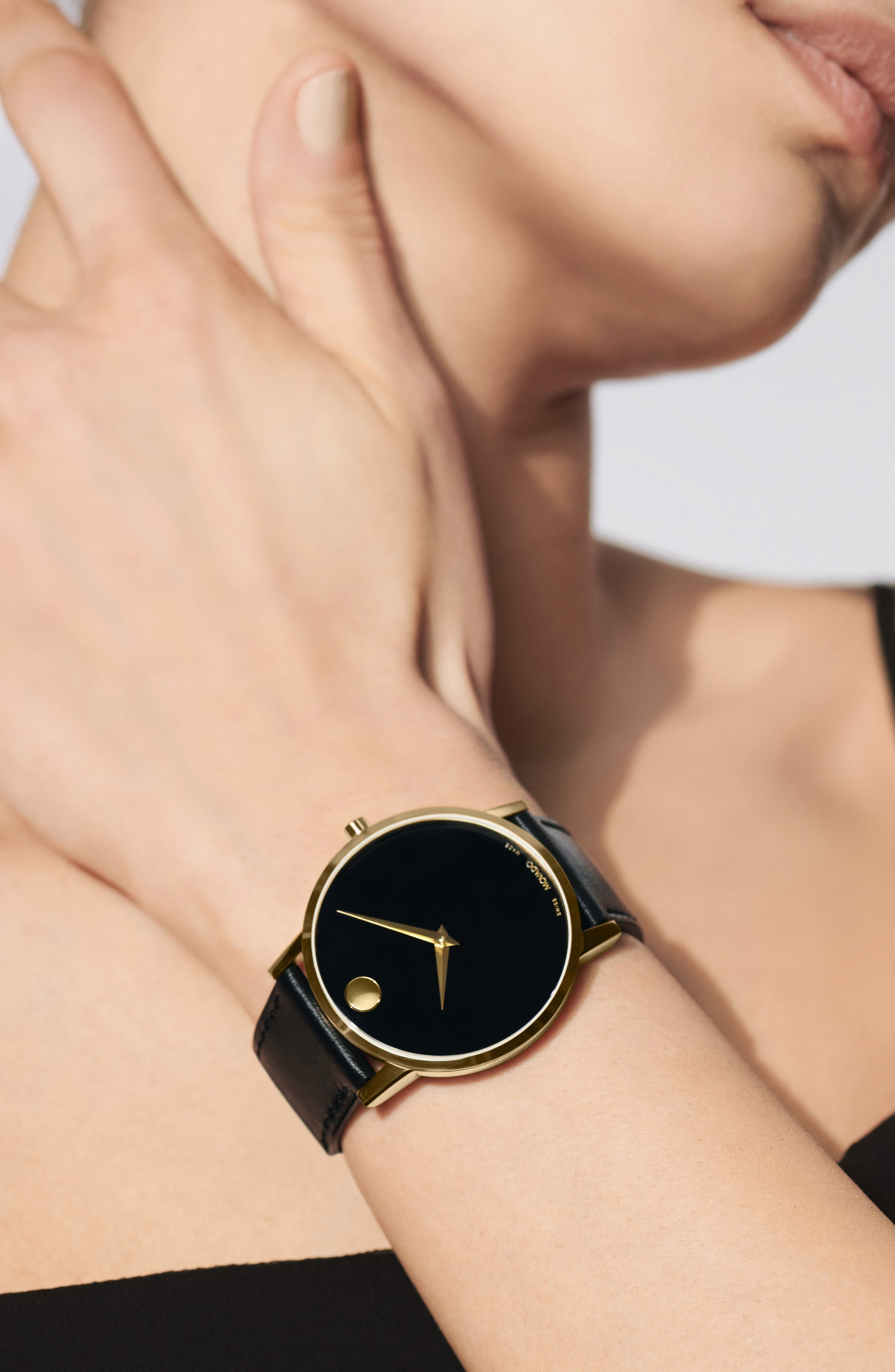 ,                             Leather Strap Watch, 40mm,                             Alternate thumbnail 4, color,                             BLACK/ GOLD