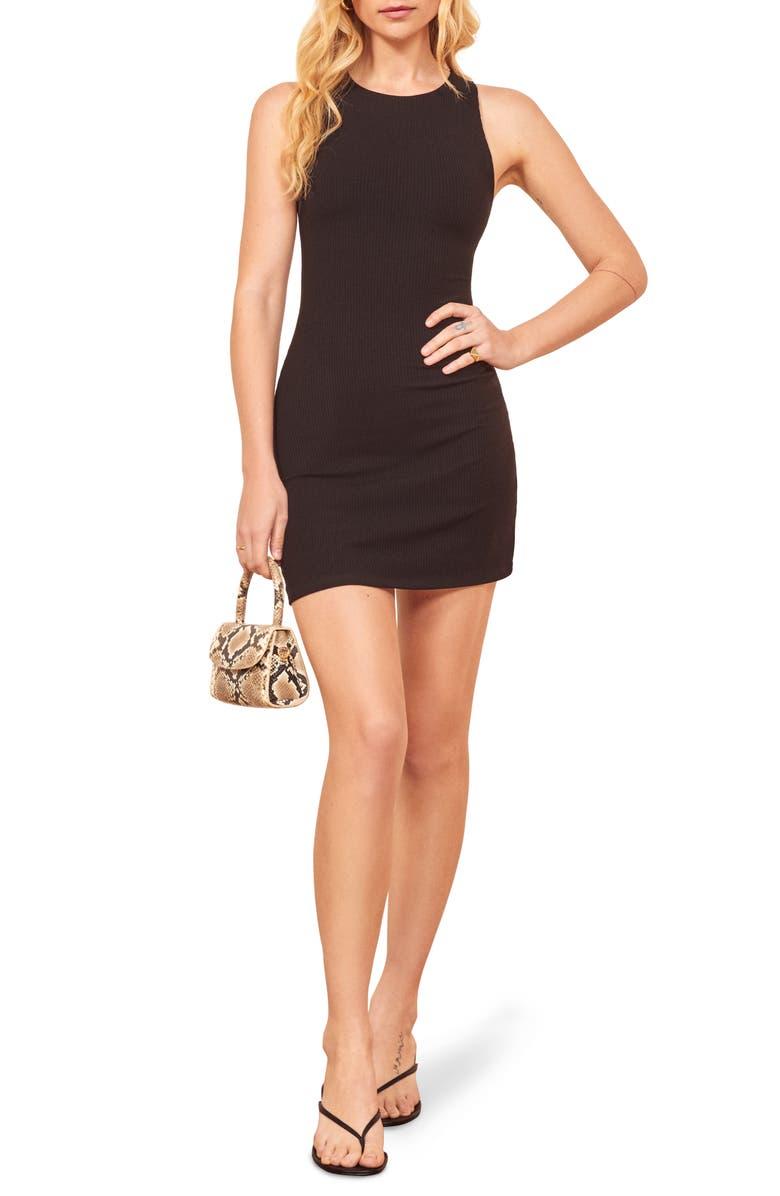 REFORMATION Kris Sleeveless Body-Con Dress, Main, color, BLACK
