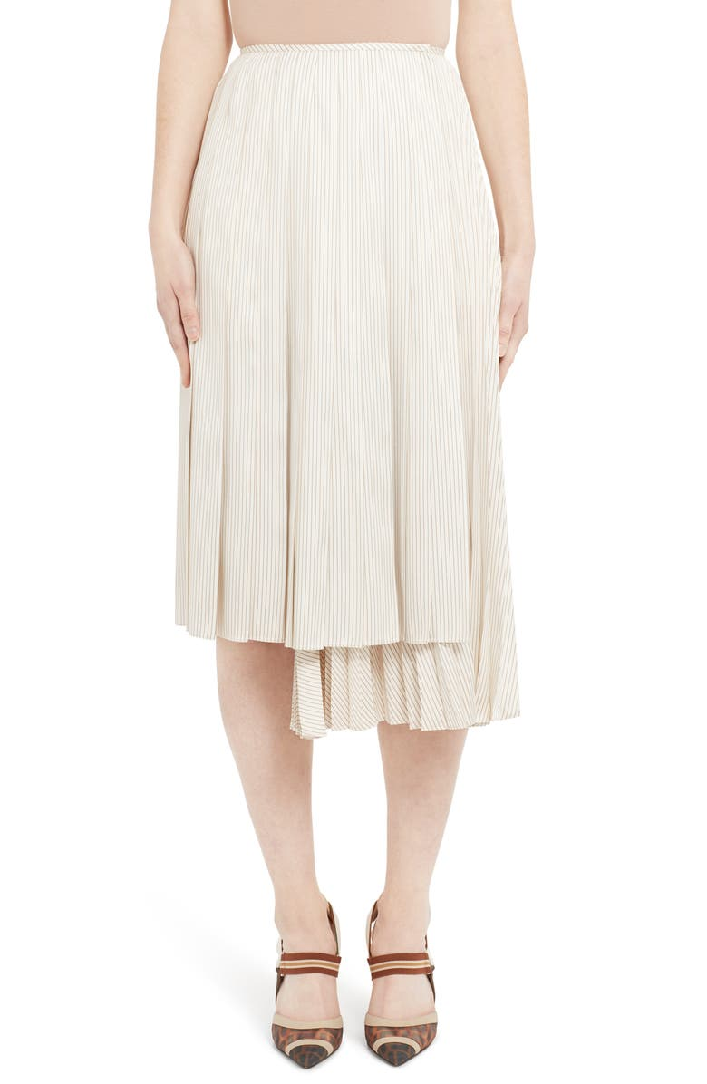 FENDI Pinstripe Layered Silk Skirt, Main, color, WHITE