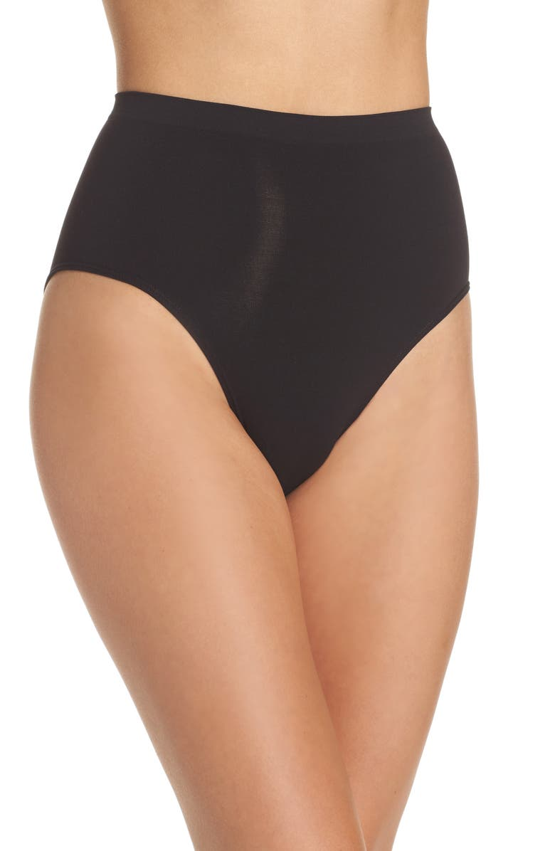 HALOGEN<SUP>®</SUP> High Waist Seamless Briefs, Main, color, BLACK