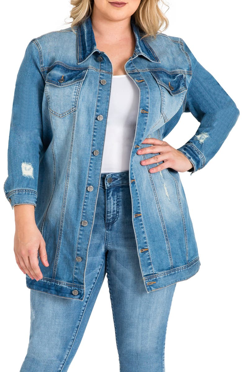 STANDARDS & PRACTICES Margot Longline Denim Jacket, Main, color, LIGHT BLUE