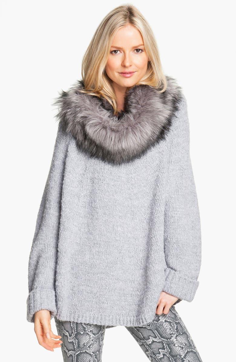 MICHAEL MICHAEL KORS Faux Fur Trim Poncho Sweater, Main, color, 035