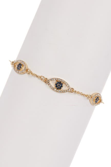 Image of Sterling Forever 14K Gold Plated Evil Eye CZ Bracelet