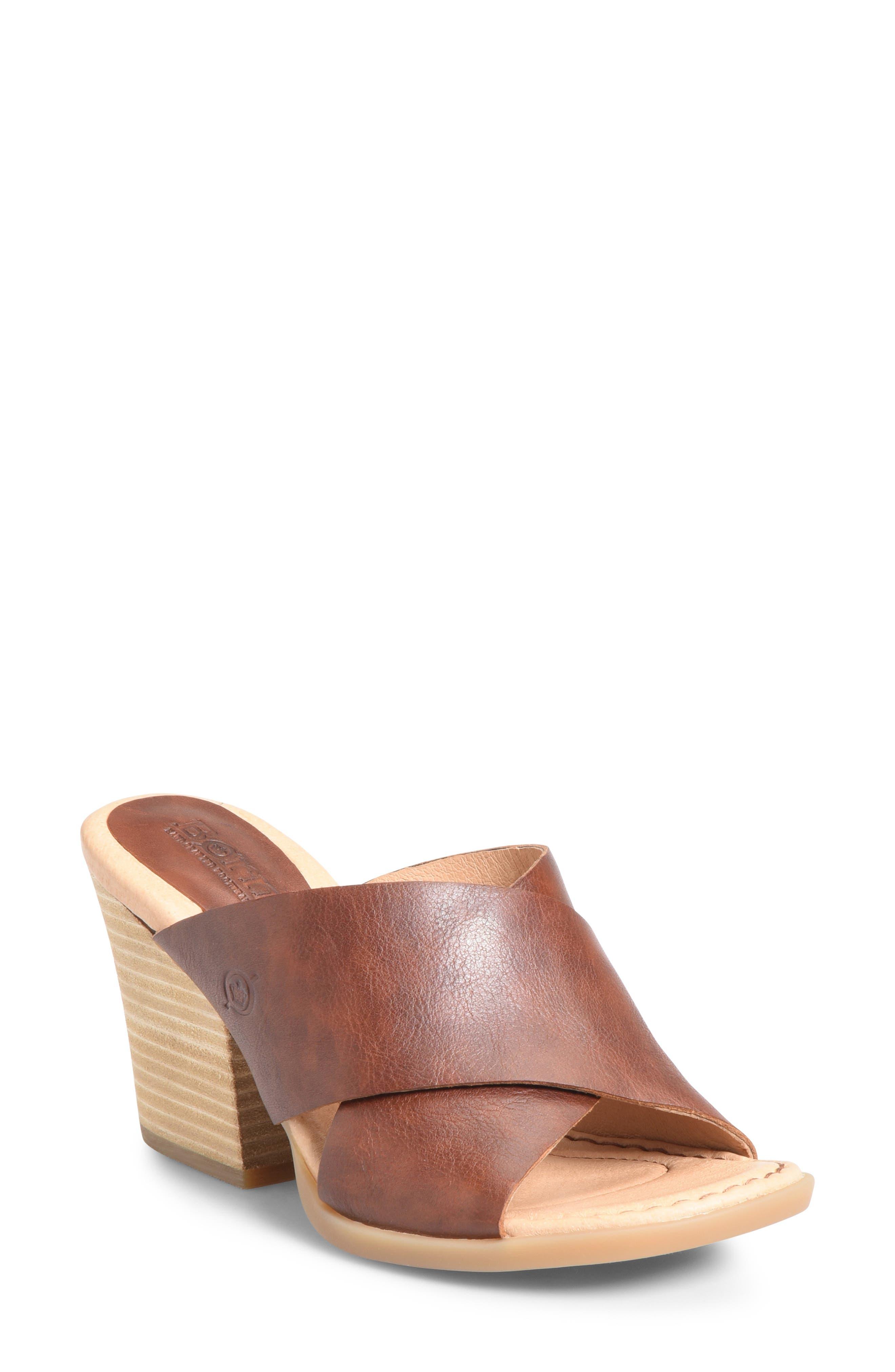 ,                             Madison Cross Strap Slide Sandal,                             Main thumbnail 1, color,                             BROWN LEATHER