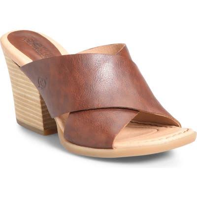 B?rn Madison Cross Strap Slide Sandal, Brown