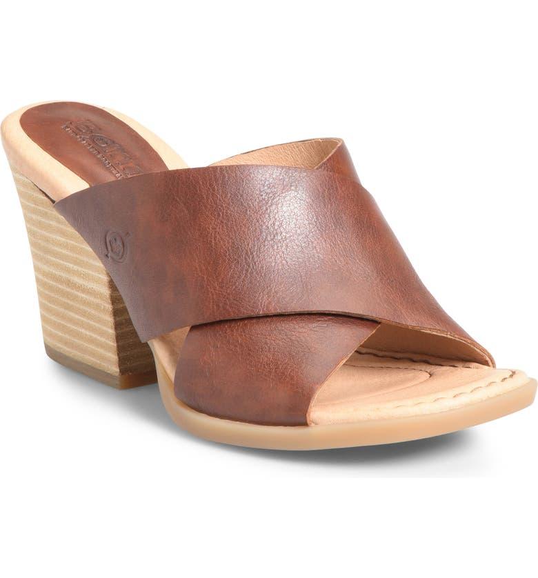 BØRN Madison Cross Strap Slide Sandal, Main, color, BROWN LEATHER
