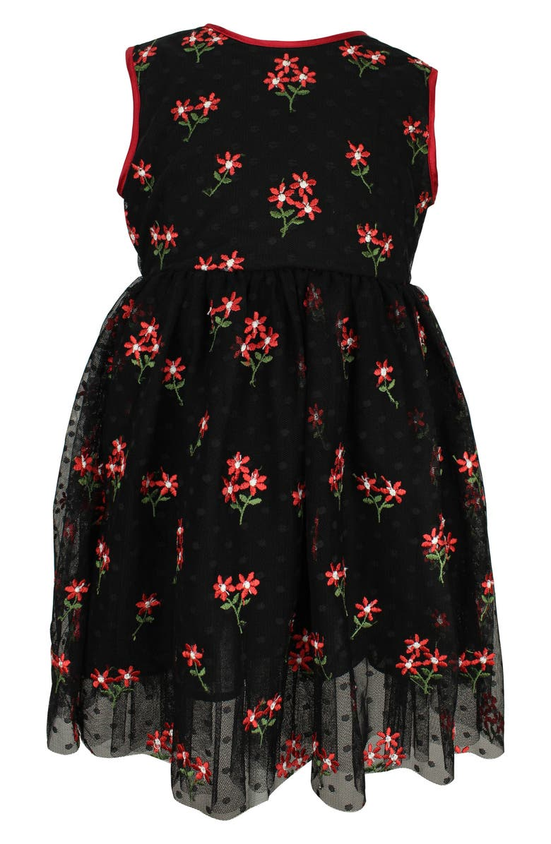 POPATU Embroidered Flower Dress, Main, color, BLACK