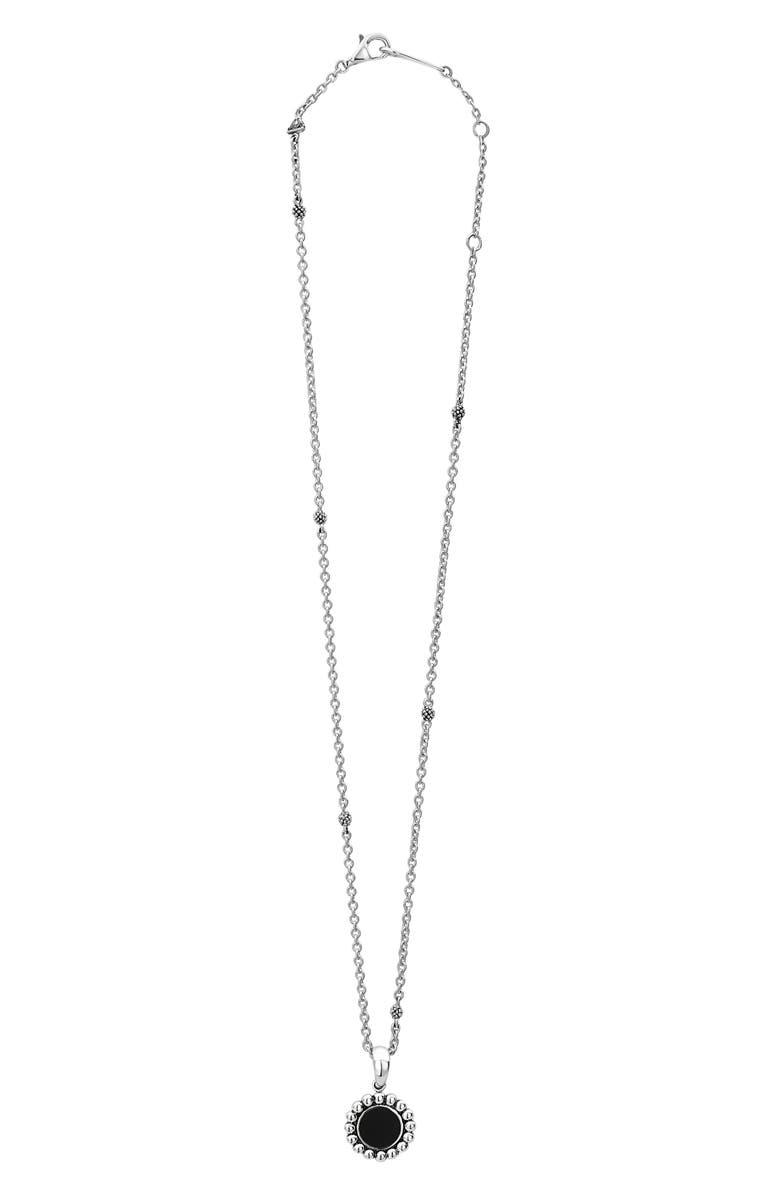 LAGOS Maya Circle Pendant Necklace, Main, color, SILVER/ ONYX