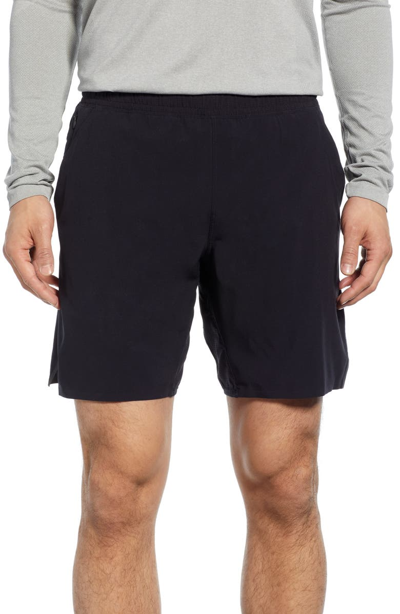 REIGNING CHAMP Performance Athletic Shorts, Main, color, BLACK