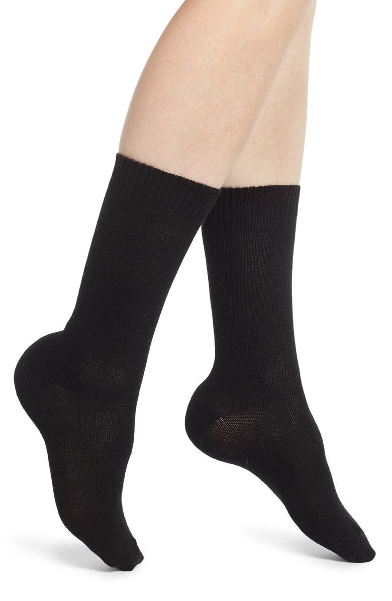 NORDSTROM Flat Knit Crew Socks, Main, color, BLACK