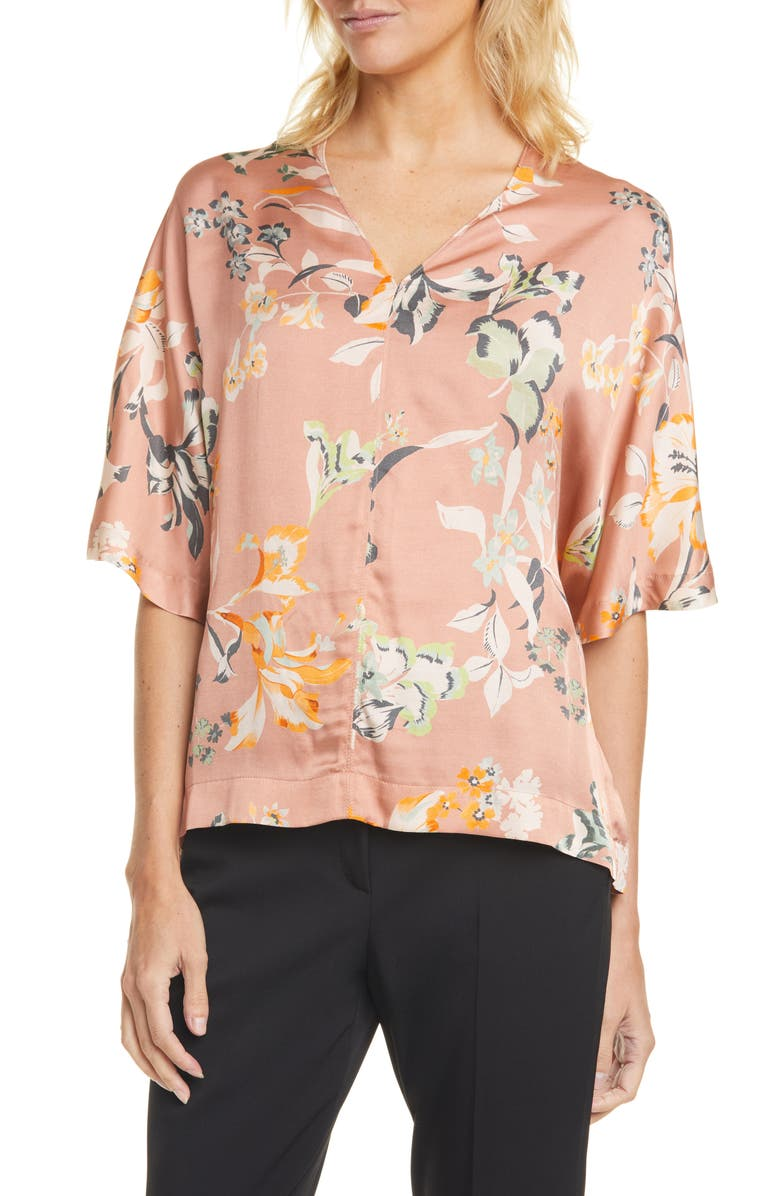 SEVENTY Floral Elbow Sleeve Blouse, Main, color, ROSA