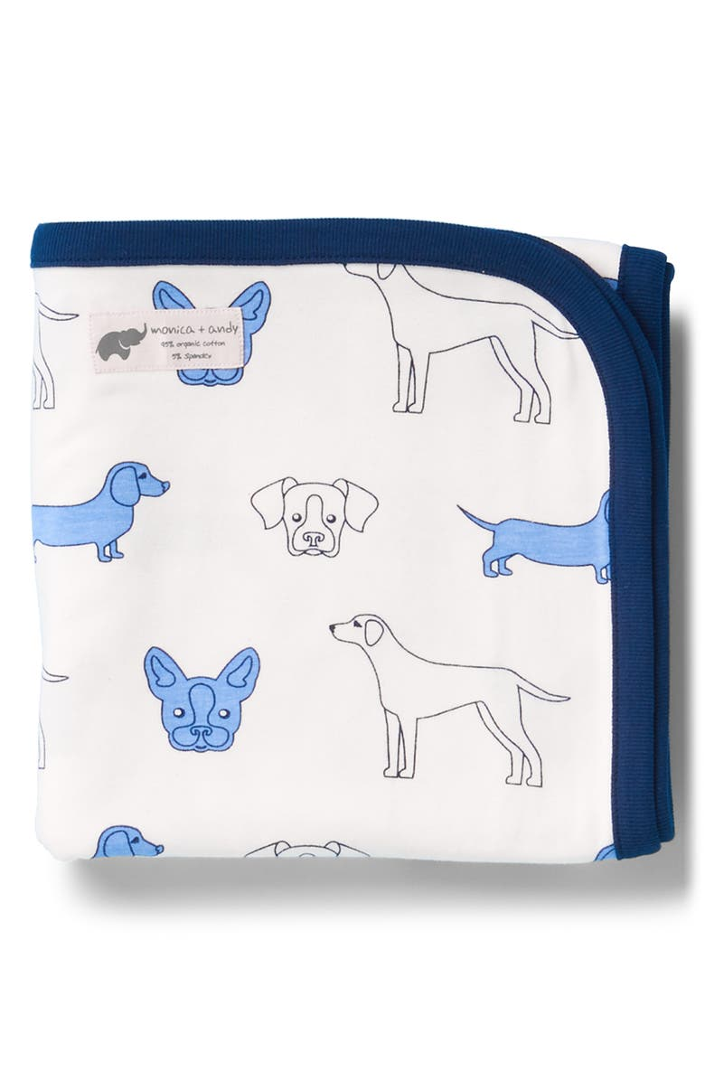 MONICA + ANDY Blue Dogs Coming Home Blanket, Main, color, 100