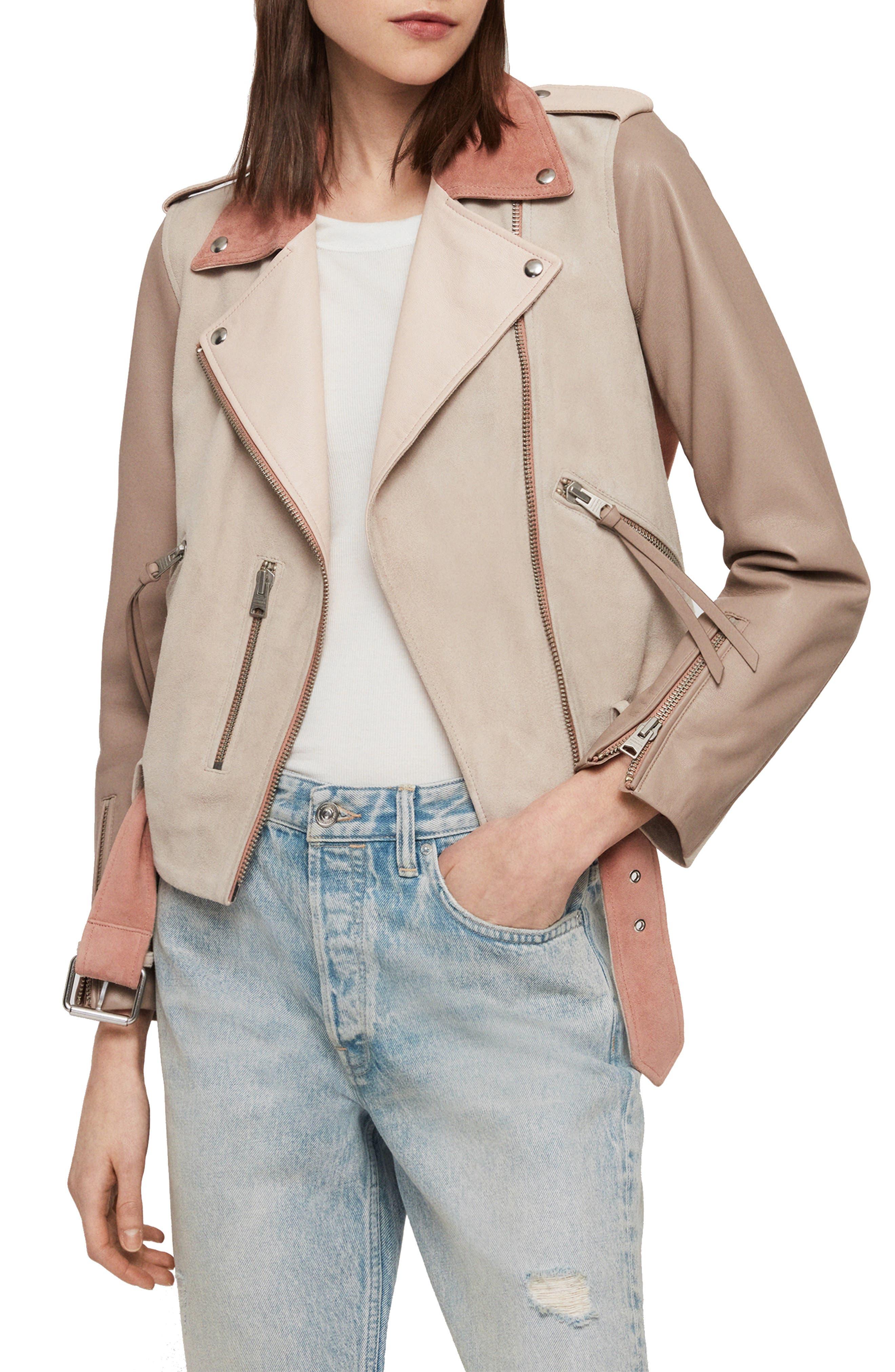 Balfern Mix Suede & Leather Biker Jacket, Main, color, PINK MIX