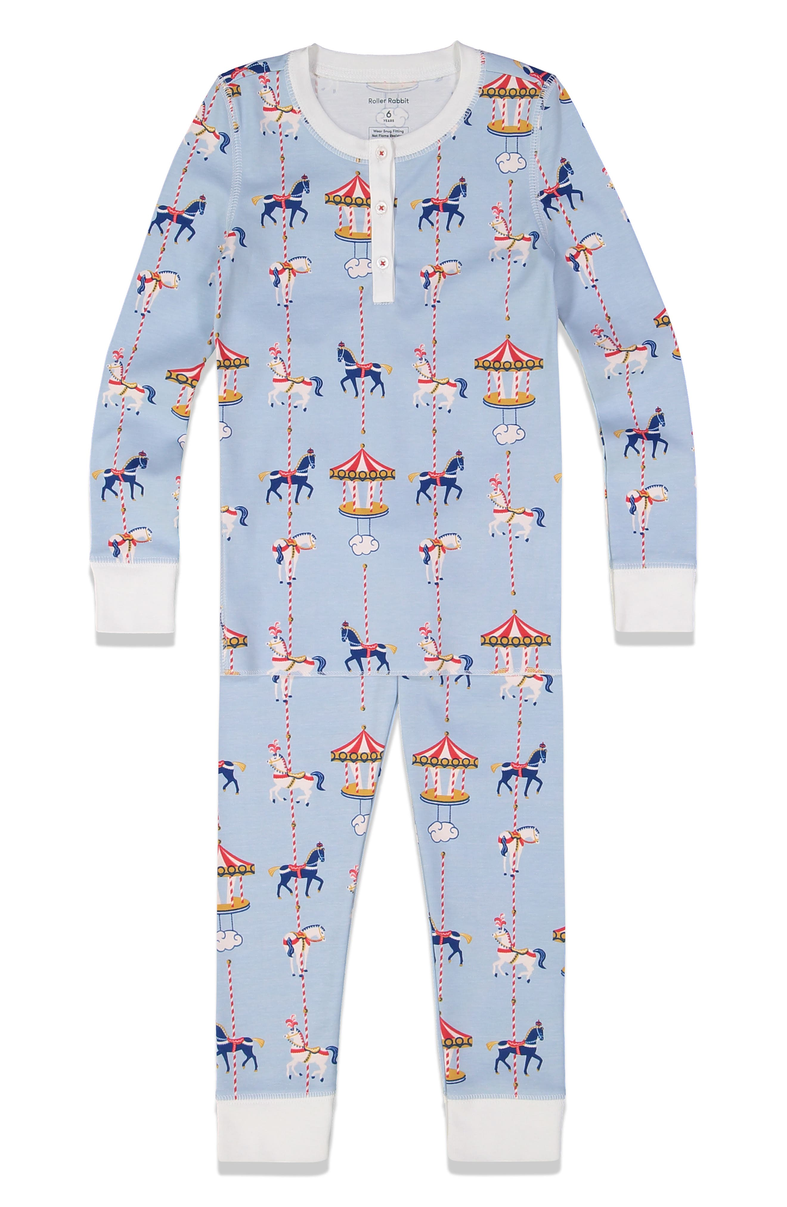 Toddler Roller Rabbit Carousel Fitted Two-Piece Pajamas, Y - Blue