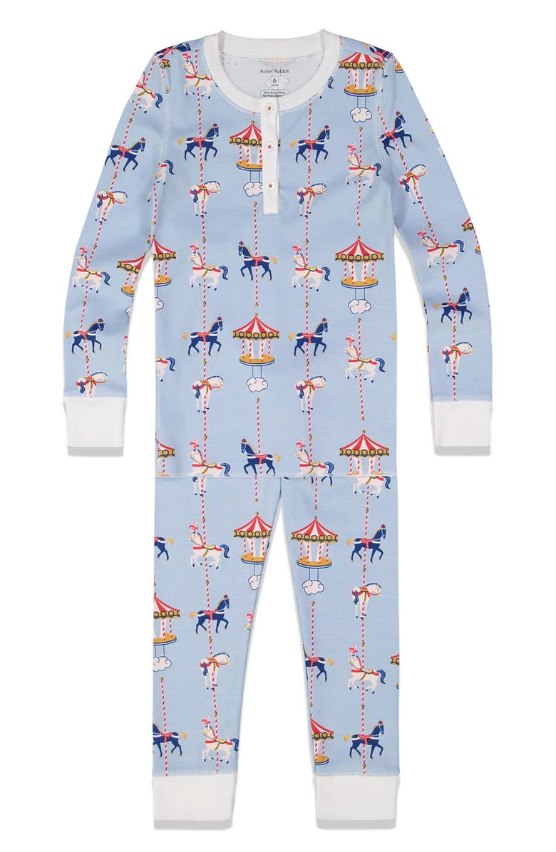 ROLLER RABBIT Carousel Fitted Two-Piece Pajamas, Main, color, 400