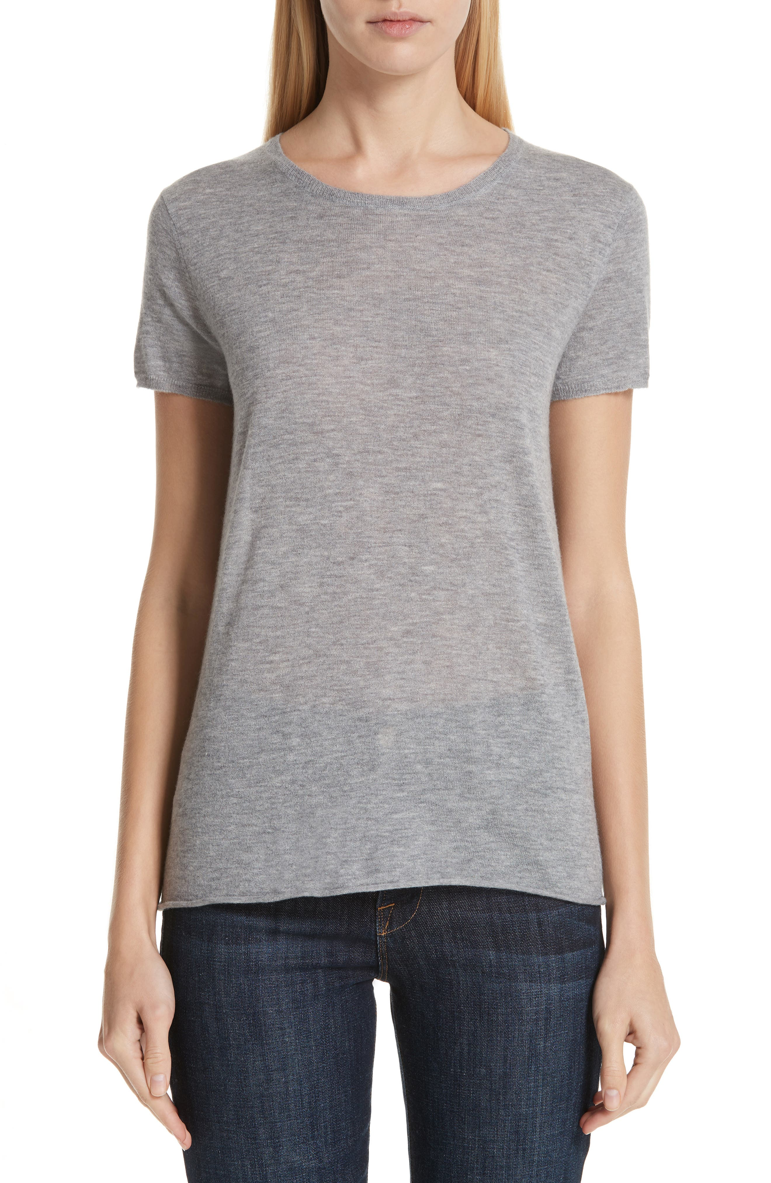 Cashmere Tee, Main, color, GRIS CHIN CLAIR